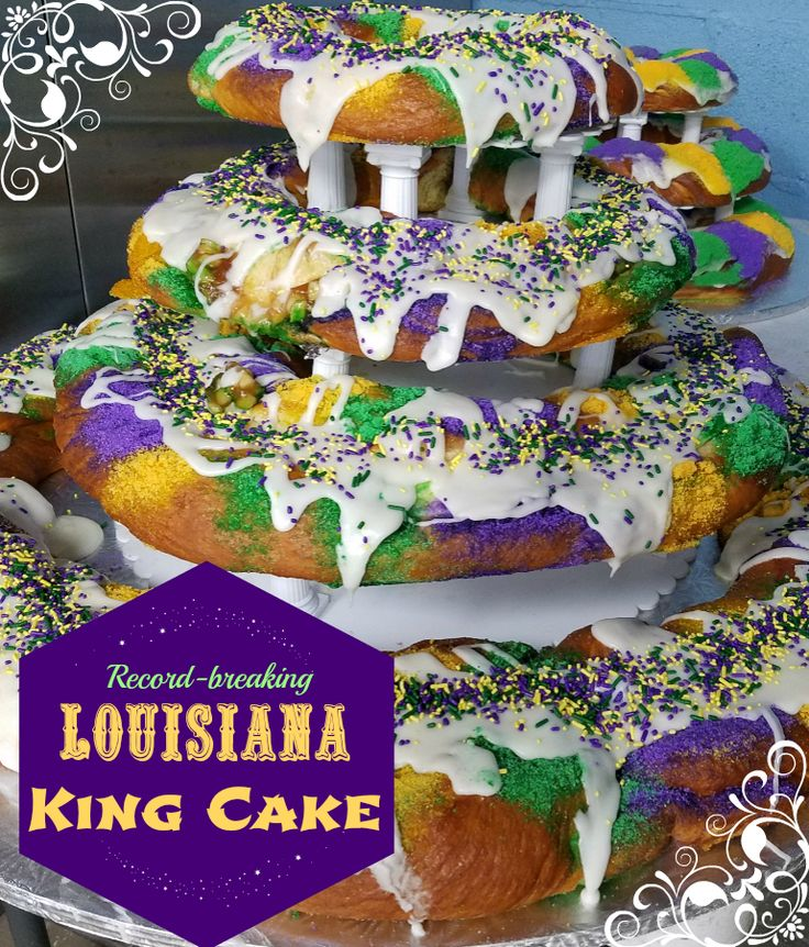 Haydel's Bakery baked the Largest king cake in 2010 - big enough to circle the entire Louisiana Superdome!   #cake #dessert #recipe #mardigras #louisiana #south #family #moms #sweet #yum #baking