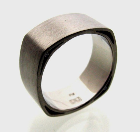 Fabulous A wedding ring like this maybe Soft Square with Voids Wedding Band by lrjewelry on