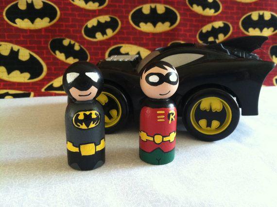 Dark+Superhero+Duo+of+Peg+People+by+MakingsFromMommyland+on+Etsy,+$15.00