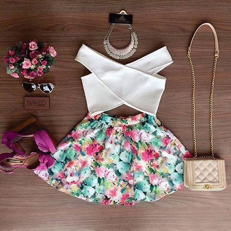 Secy Conjunto de Dos Piezas: Corto Tops Cruzado de Color Sólido + Falda de Estampado Floral - Vestidos de moda - Ropa