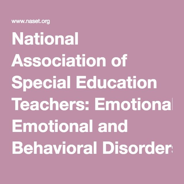 National Association of Special Education Teachers: Emotional and Behavioral Disorders