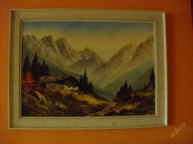 obraz chatrč  v alpách