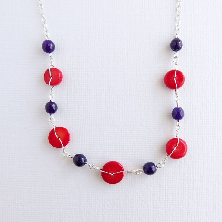 "Dyed Amethyst and Red Coral - Choker Necklace - 14"" - .925 Sterling Silver"