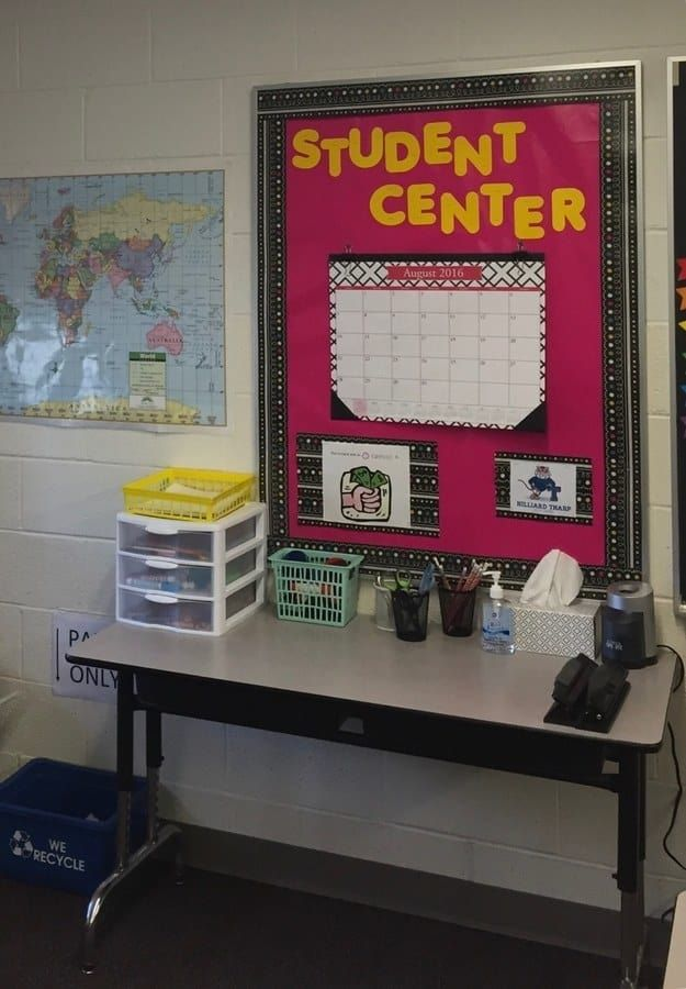 I originally found a similar idea on Pinterest and modified it to fit my needs. My student center is a place where students can go to get whatever supplies they're missing that they need in class. It keeps kids from taking supplies off my desk and helps the classroom run more efficiently. Love it! —sams420b3d0c1