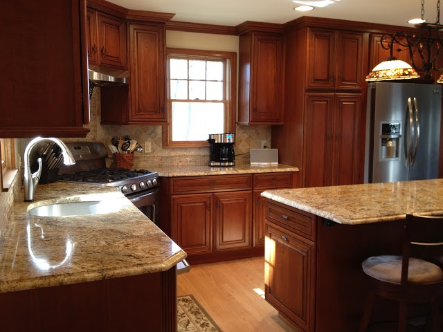 Schrock Whiskey Black On Cherry Cabinets Kitchen Designs