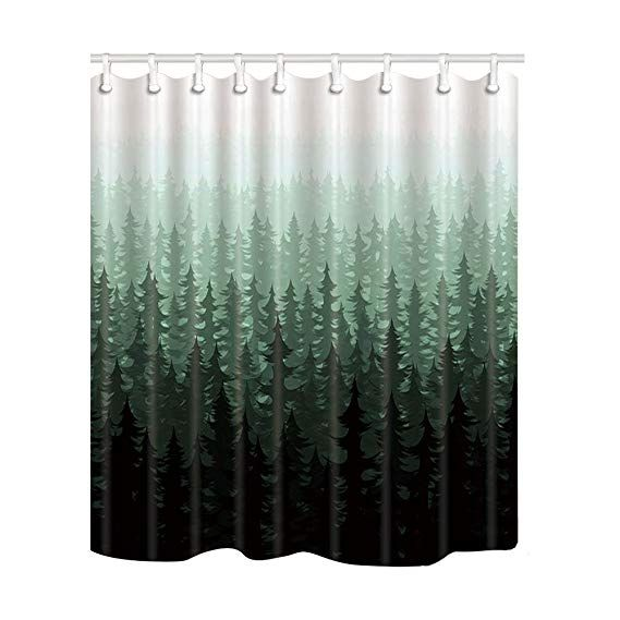 Nymb Nature Forest Landscape Decor Watercolor Pine Trees Shower