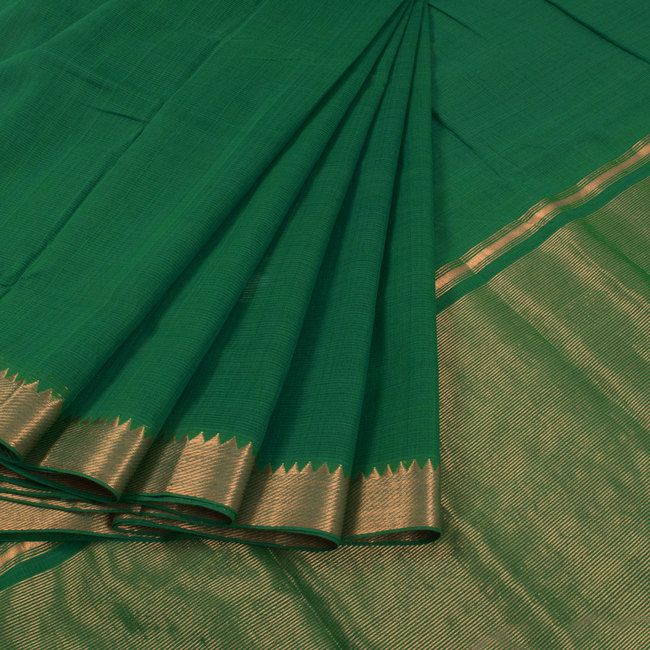 Buy online Handwoven Green Mangalgiri Cotton Saree With Zari Border & Zari Pallu 10014942