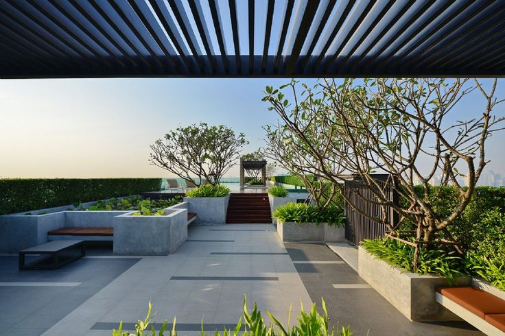 公寓屋顶花园休息平台