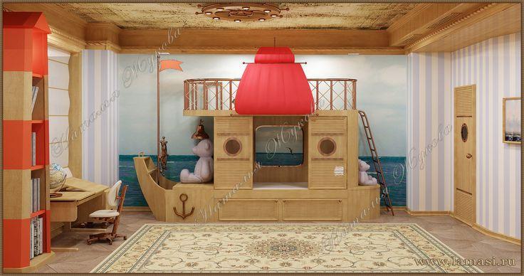 Детская комната для мальчика в морском стиле с авторской мебелью.