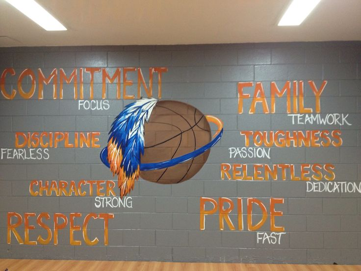 I painted this mural with team colors in a girls basketball locker room.