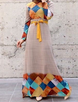 Turkey Long sleeves Dress Muslim SZ 44 Islamic Jilbab Abaya CREPE CHIFFON 16 us