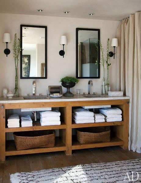 rustic style vanities wood frame wall mirror custom vanity furniture with double sinks shelves design by hallberg wiseley designers under mount