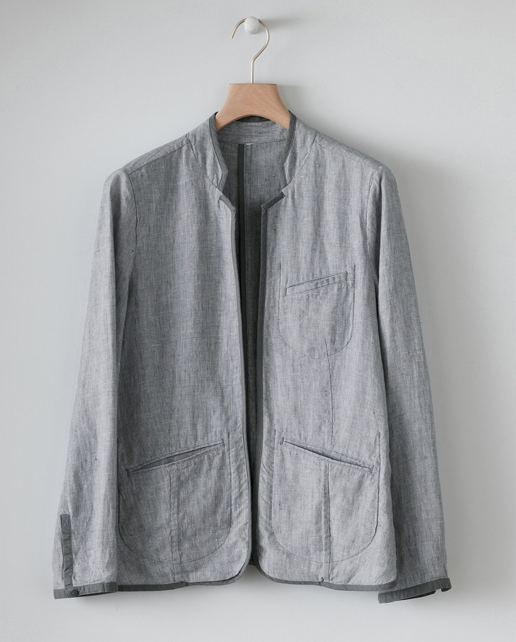 Image of Nehru Collar Linen Jacket