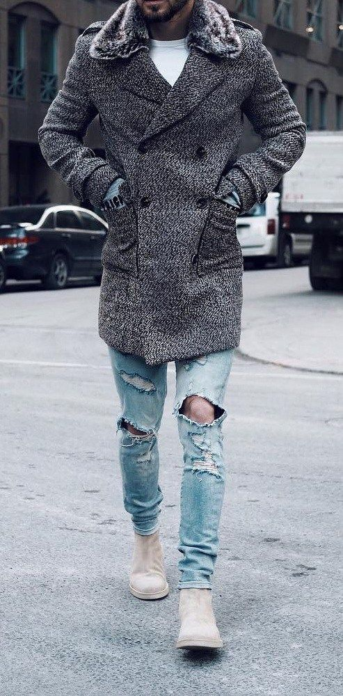 Grey overcoat with scarf & Torned denim for Fall