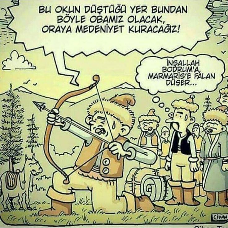 - Bu okun düştüğü yer bundan böyle obamız olacak, oraya medeniyet kuracağız!  + İnşallah Bodrum'a, Marmaris'e falan düşer...   (Kaynak: Instagram - karikatur_deposu)   #karikatür #mizah #matrak #komik #espri #şaka #gırgır #komiksözler