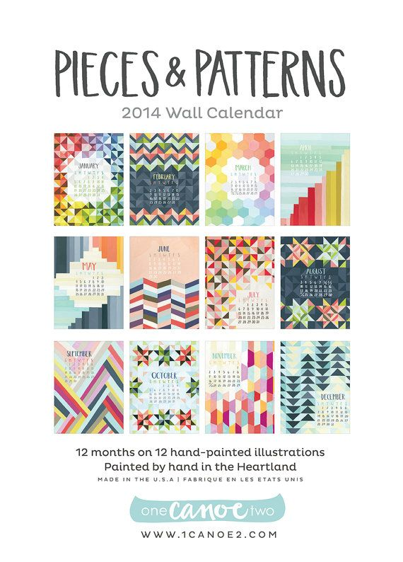 Pieces and Patterns Illustrated 2014 Wall Calendar by 1canoe2