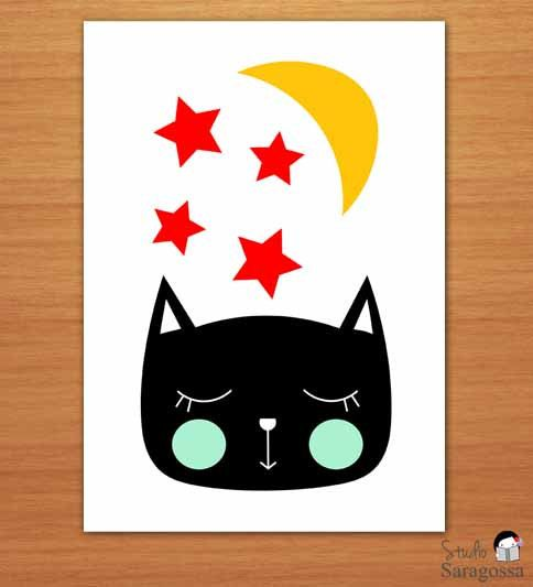 Sleeping Cat Printable Children's by StudioSaragossa on Etsy, €3.70