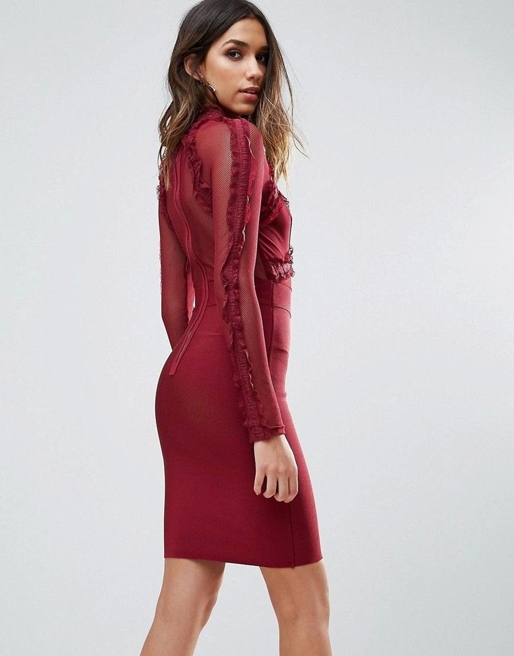 WOW Couture Lace Detail Top Mini Bandage Bodycon Dress - Red