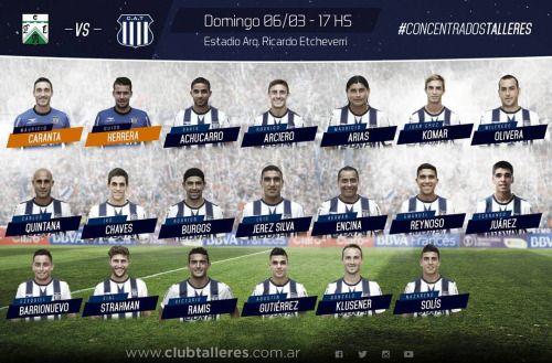 Los jugadores que concentran para el partido del domingo ante...  Los jugadores que concentran para el partido del domingo ante Ferro. Vamos #Talleres!