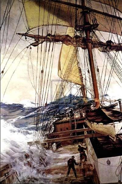 """The Rising Wind"" - Montague Dawson."