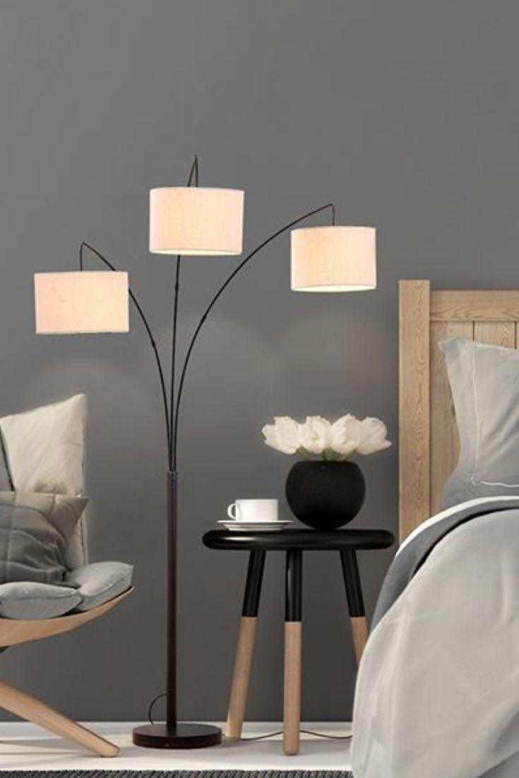 3 Light Arc Led Floor Lamp For Living Rooms With Marble Base