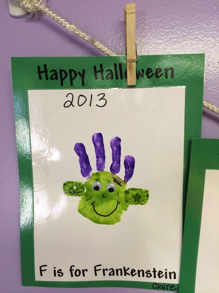 Handprint Frankenstein craft for kids at halloween