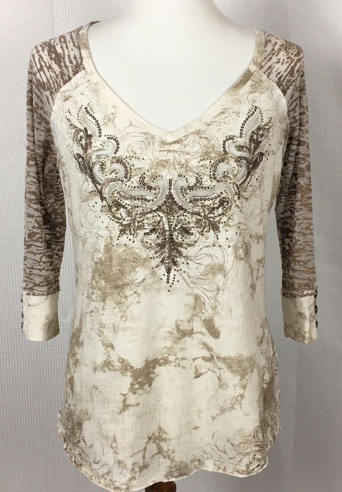 Maurices Womens Sz Medium Stud Embellished Shirt Burnout 3/4 Sleeves Beige Gold  | eBay