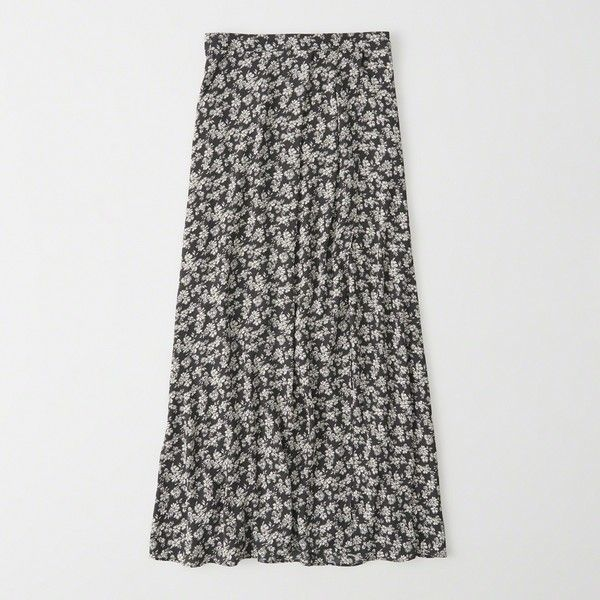 Abercrombie & Fitch Pattern Wrap Maxi Skirt ($35) ❤ liked on Polyvore featuring skirts, grey floral, floral print skirt, wrap skirts, floral maxi skirt, gray maxi skirt and patterned maxi skirt