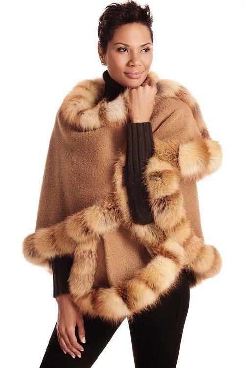 Camel Alpaca Cape Red Fox Trim: Fall 2013-Winter 2014. #fall2013 #furfashion #camelcape