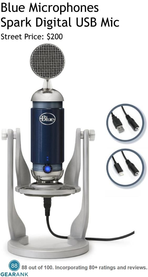 Blue Microphones Spark Digital USB Microphone. A condenser mic with both USB and Lightning Connectivity, the Spark Digital is based on the design of Blue Microphone's Spark Studio Mic. Compatible with multiple iOS devices including  iPad, iPad 3rd generation, iPad 4th generation, iPad Air, iPad Mini 1, iPad Mini 2, and iPad Mini 3. Also works with Max OSX 10.4 or later and Windows XP to Windows 10.  For a detailed guide to USB Mics see https://www.gearank.com/guides/usb-microphones