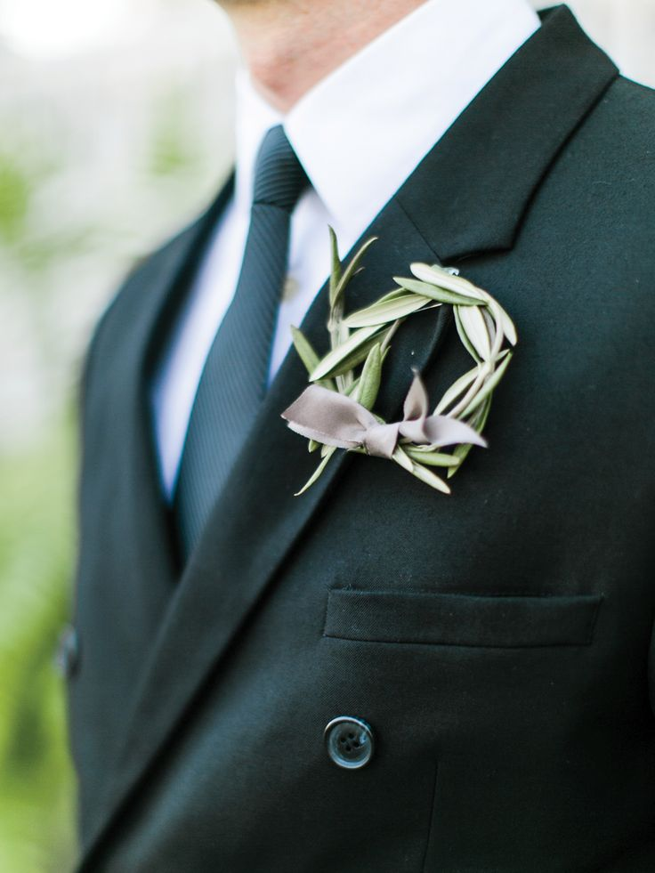 Wreath boutonniere by Petal Flower Company. Image by Rachel May Photography.