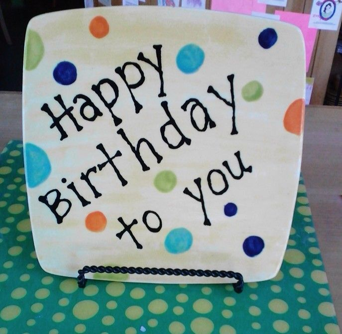 """""""Happy Birthday"""" Plate Painted By Customer #pottery #colormemine #birthday"""