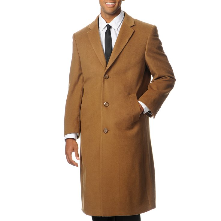 Pronto Moda Men's 'Harvard' Camel Blend Long Top Coat