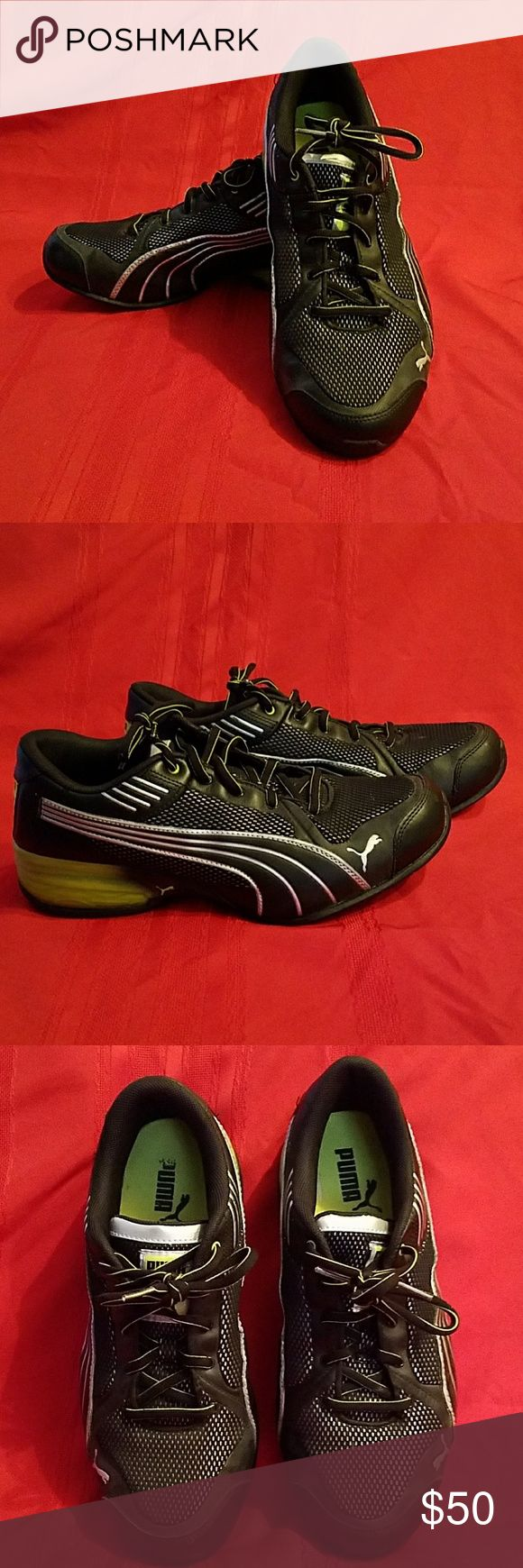 Puma running Black/Green Men's Puma running shoes in black with green & silver accents.  Only worn a couple times. Puma Shoes Sneakers