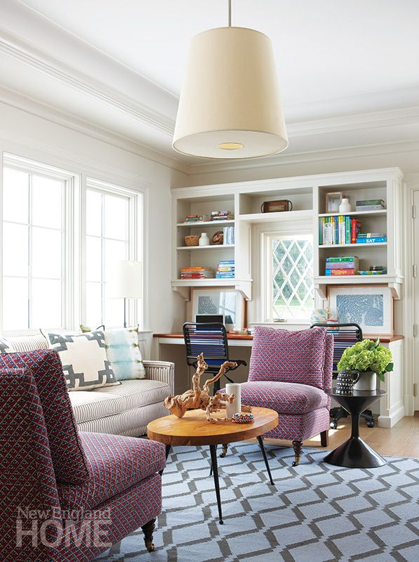 Multipurpose Room Design Ideas Part - 17: Bold Textiles And A Contemporary Coffee Table From Jonathan Adler Add  Energy To The U201cteen Room,u201d Where The Familyu0027s Three Children Can Do  Homework Or Hang ...