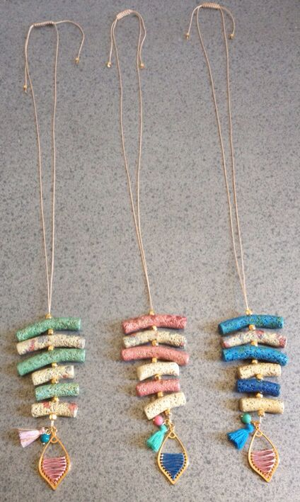 Ceramic tube necklaces #lavarock