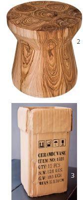 2. Mesa auxiliar Yunkie de madera reciclada, ensamblada y torneada, $1.000.050, de Yumna Cure.   3. Florero Export, $37.900, de Koziol.