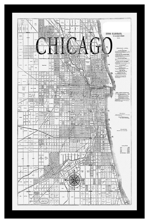 Chicago Map Canvas.Custom City Maps City Maps On Synthetic Canvas And Cotton Canvas