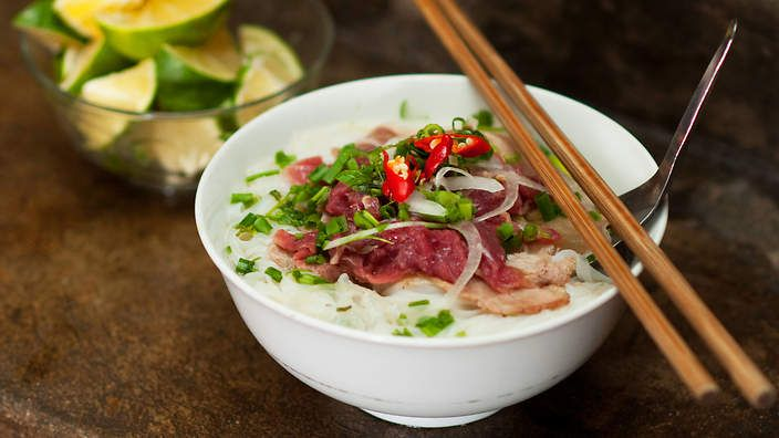 Luke Nguyen grew up on beef noodle soup with rice #noodles (pho bo). Try his version of this famous Vietnamese dish. Watch the video recipe.