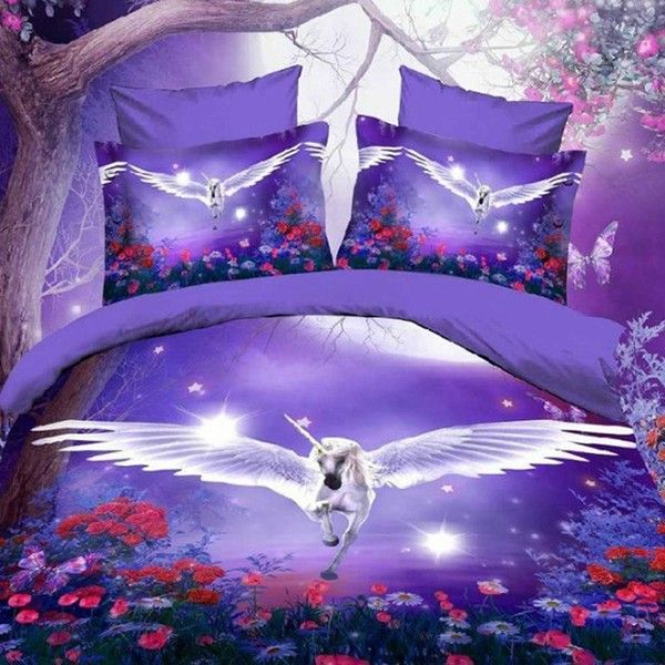 Amazon.com: Alicemall 3D Unicorn Bedding Purple Bedding Set Dreamlike... ($50) ❤ liked on Polyvore featuring home, bed & bath, bedding, twin bed linens, horse bedding sets, purple bed sets, unicorn bedding sets and purple bedding