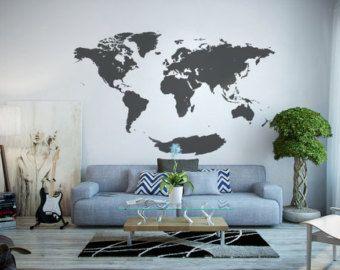 Word wereld kaart muur sticker ZY95AB van WallStickersDecal op Etsy