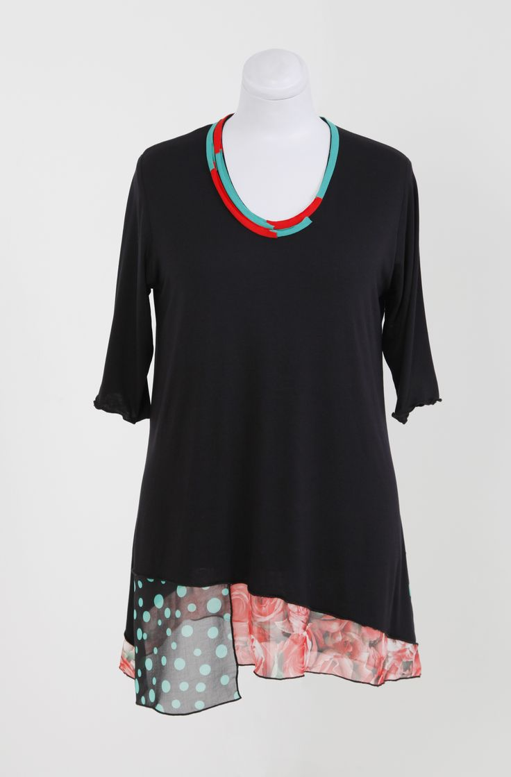 Black Viscose Top with Chiffon detail designed and manufactured by HAYLEY JOY. Sizes M - 5XL. R799 Like us on Facebook at Hayley Joy Shop