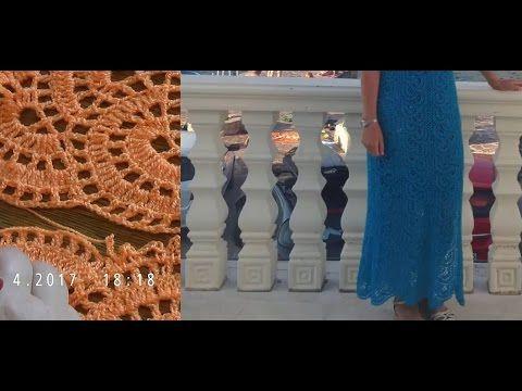 Вяжем кружевное длинное платье.  Часть 2 - YouTube