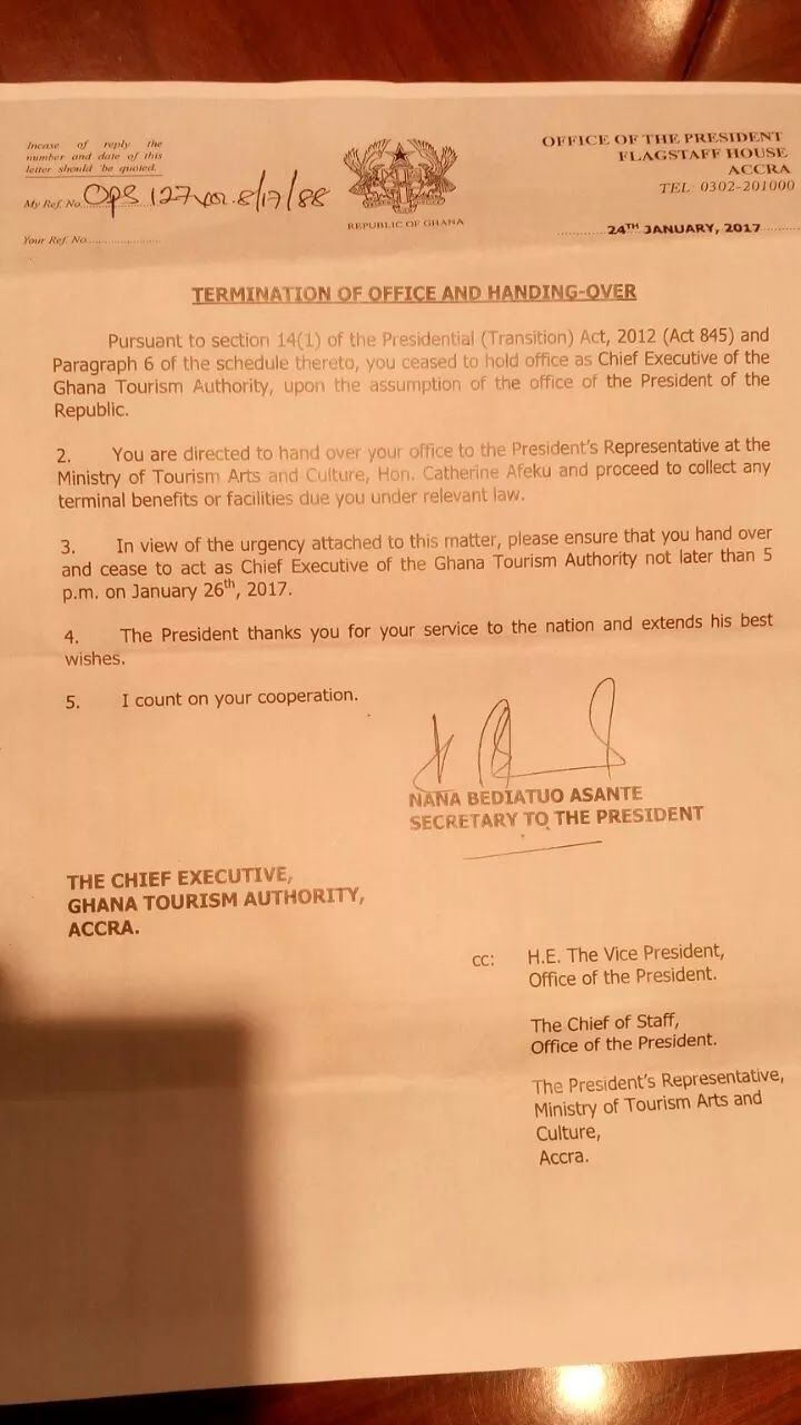 The CEO of the Ghana Tourism Authority, Gideon Aryeequaye has been issued a directive by President Akufo-Addo to step down from his post....