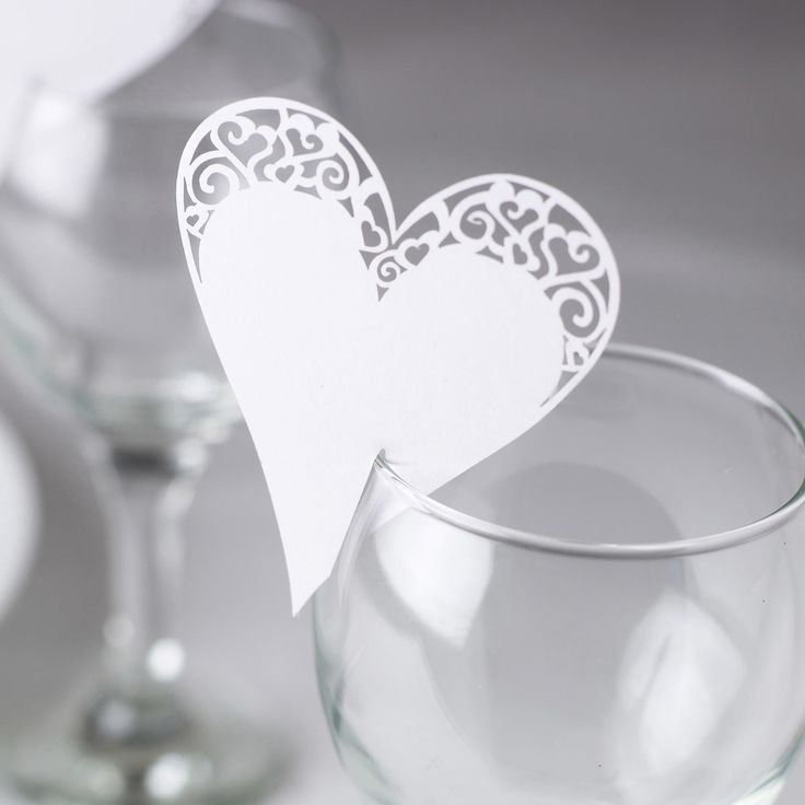 Contemporary Heart -Place Card on Glass - Weddings