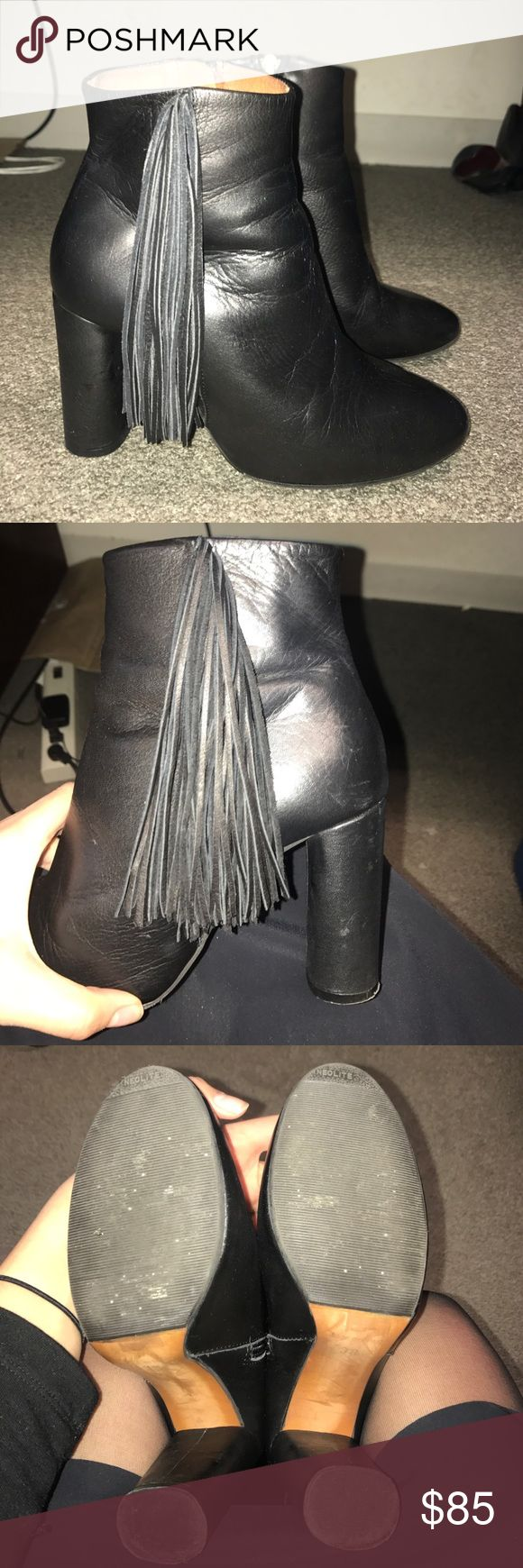 TOPSHOP Black Leather Fringe Booties Size 38 Worn probably about 4 times and bought at the TOPSHOP store in California. Size 38, no box, smoke free home. Topshop Shoes Heeled Boots