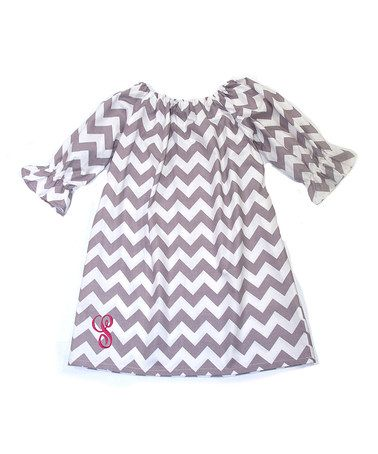 Another great find on #zulily! Gray Chevron Initial Peasant Dress - Infant, Toddler & Girls #zulilyfinds
