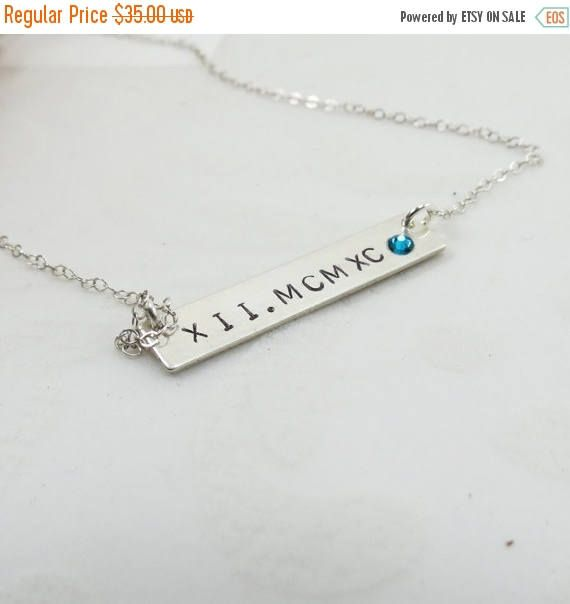 OP Koop Romeinse cijfers Birthstone dik Bar moeders halsketting-925 Sterling Silver Bar ketting cadeau dag bruidsmeisjes ketting bruiloft Maid of