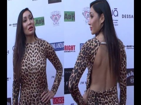 Sofia Hayat in BACKLESS LEOPARD print dress at IRFW 2013.