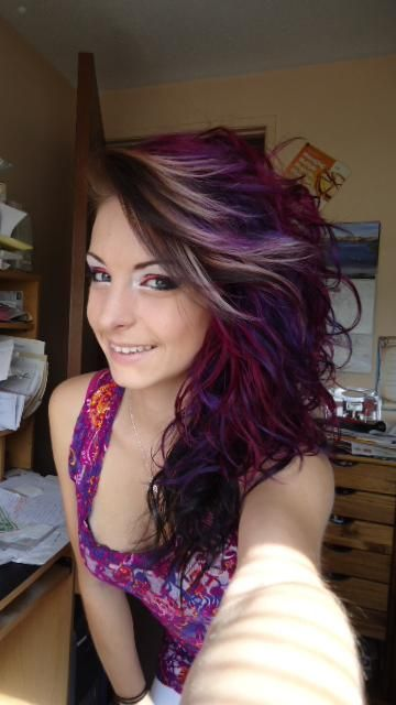 hair, hair color, multi-colored hair, purple, pink, brown, purple hair, pink hair, brown hair, streaks